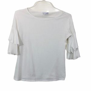 4/$25 Sale Ten Sixty Sherman White T Ruffle Sleeve